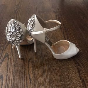 Crystal ankle strap shoes